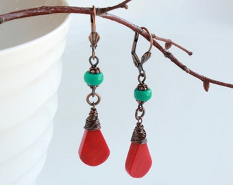 Red Coral Turquoise Earrings, Copper wire wrapped red blue gemstones, modern dangle earrings, statement earrings, holiday gift for her, 4715