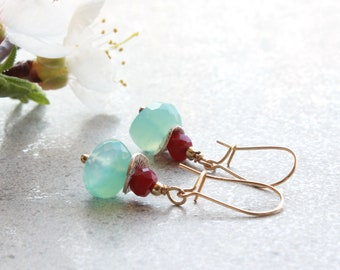 Blue Chalcedony Ruby Earrings, Goldfilled, light blue red gemstone, dainty petite dangle everyday, July birthstone, gift for her, 4742