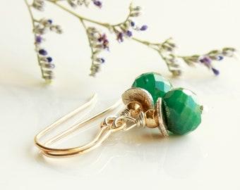 Genuine Emerald Earrings, Sterling Silver Goldfilled, mixed metal earrings, green gemstone jewelry, boho luxe May birthstone gift, 4713