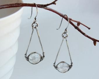Rock Crystal Earrings, Sterling Silver Herringbone wire wrapped crystal clear quartz gemstone, boho luxe dangle, April birthstone gift, 4719