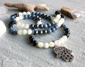 Blue Coral Black Onyx White Shell Necklace for Men, Sterling Hamsa Hand Charm, Men's Beaded Necklace, Jewelry for Guys, Dad, Him, 4623