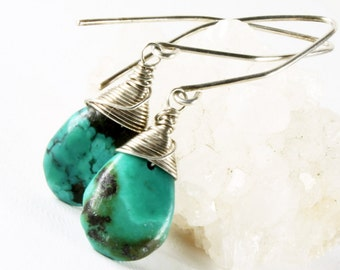 Turquoise Earrings, Sterling Silver wire wrap, fine earrings, blue gemstone, genuine turquoise, gift for her, December birthstone, 1781