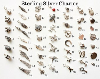 a74b37b87 Add-On Sterling Silver Charms, Add a Charm to Necklace or Bracelet,  personalized, love, good luck, fortune, talismans, hand-stamped initials