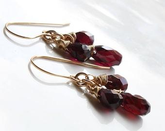 Garnet earrings, Gold filled earrings, deep red gemstone earrings, fine earrings, cluster earrings, January birthstone, gift for her, 3239