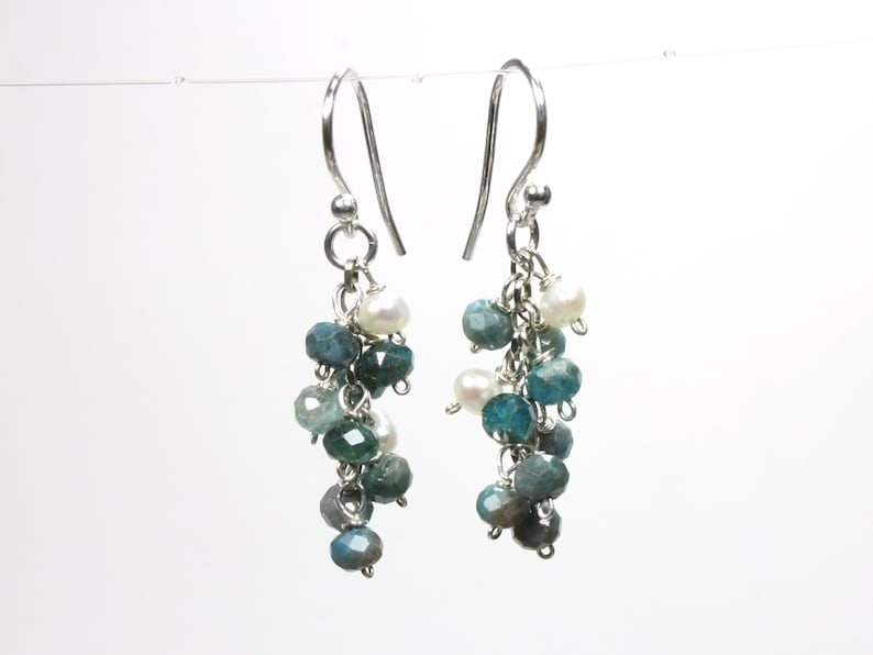Blue Kyanite Sterling Silver Cluster Earrings wire wrapped natural gemstone white pearls boho luxe dangle drops birthday holiday gift 6175