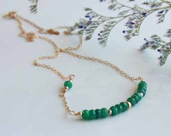 Emerald Necklace, green gemstone bar, Goldfilled, minimalist everyday layered modern simple, holiday gift for her, May birthstone, 4727