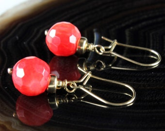 Red Coral Earrings, 14K Gold fill earrings, red gemstone, delicate dangle earrings, everyday, dainty earrings, holiday gift for her, 2591