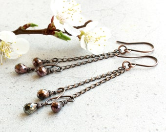Copper Spinel Earrings, oxidized copper chandeliers, natural gemstone, modern long dangle earrings, boho luxe, holiday gift for her, 4746