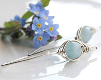 Aquamarine Earrings, Sterling Silver wire wrap, blue gemstone earrings, modern threader earrings, March birthstone,holiday gift for her 4075