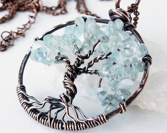 Aquamarine Tree of Life Necklace, Copper Wire Wrapped light blue gemstone talisman pendant, March Birthstone gift for her, Mother's day gift