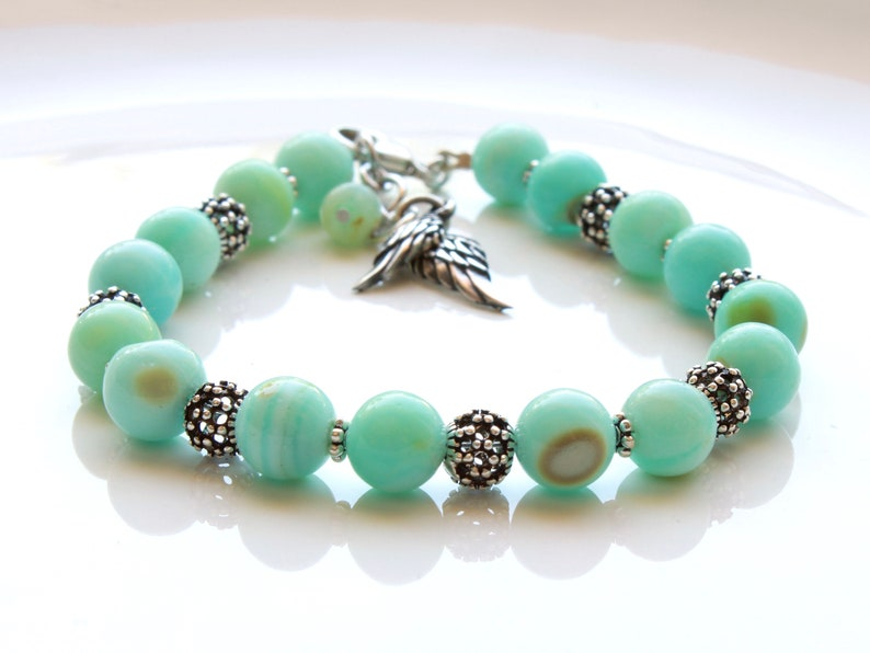 Blue Peruvian Opal Bracelet mother/'s day gift,4648 birthday gift for her angel wings charm 925 Sterling Silver boho luxe blue gemstone