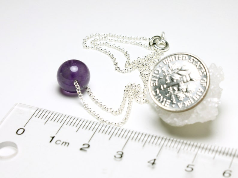 rich purple gemstone ball pendant layering choker 5553 February birthstone gift Natural AMETHYST Necklace Goldfilled Sterling Silver