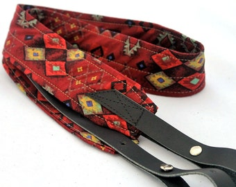 Southwestern Red Banjo Strap with Black or Brown Leather