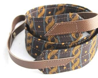 Star Spangled Mandolin / Ukulele Strap with Leather Ends