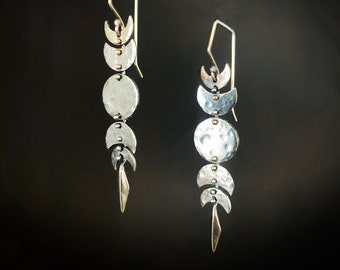 Moon phase earrings - silver or brass