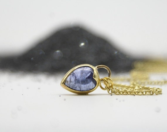 Mini tanzanite Heartlock necklace