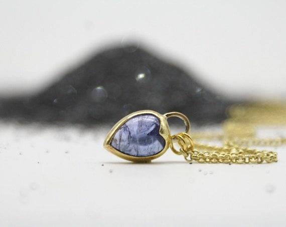 Mini tanzanite Heartlock necklace