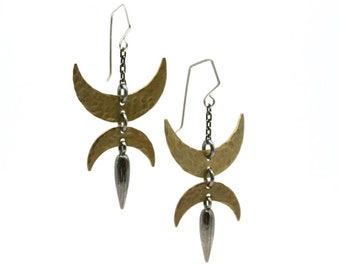 Hammered Double Crescent Dagger earrings