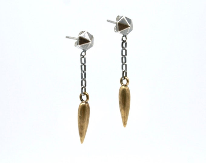 Hexastud dagger drop earrings