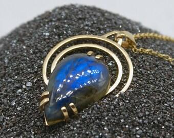 Blue Labradorite Teardrop Halo necklace