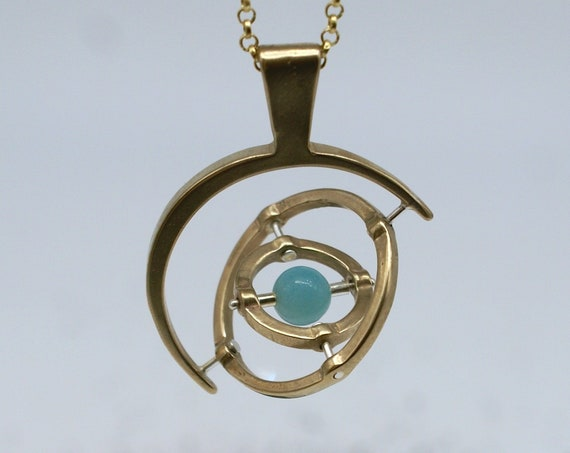 Gyroscope pendant necklace - 3-axis with Amazonite