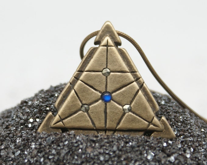 Isosceles Spaceship Key - moonstone and marcasite