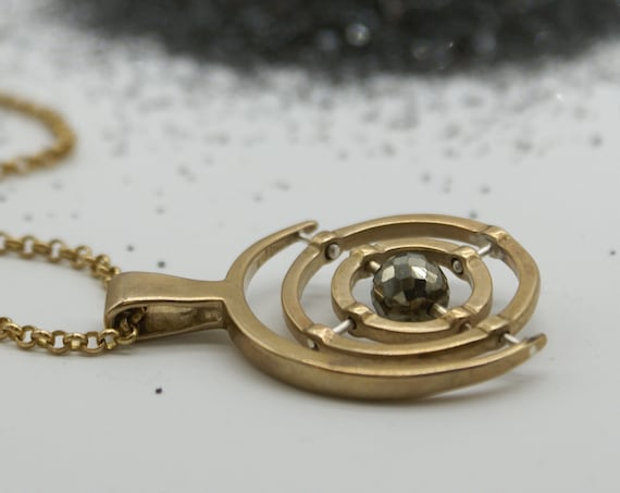 Gyroscope pendant necklace - 3-axis with pyrite