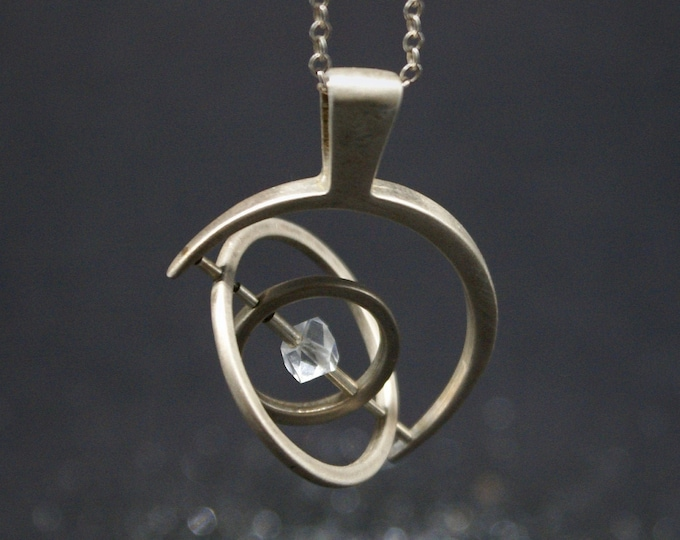 Gyroscope pendant - Silver with Herkimer Diamond, 1 axis