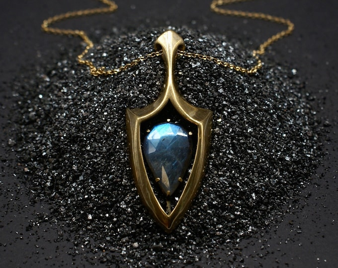 Windowed Shield pendant - labradorite