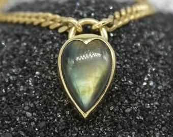 Heartlock necklace - large labradorite