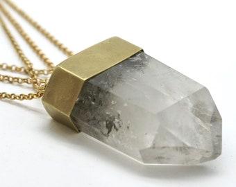 Woven Chain Crystal Talisman - clear quartz