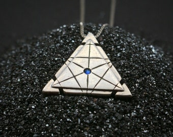 Silver Isosceles Spaceship Key - moonstone and emerald