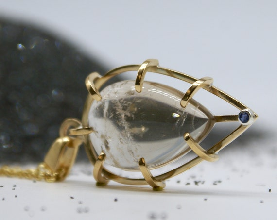 Caged Teardrop - Medium Rutilated Quartz with Blue Sapphire