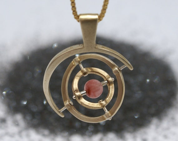 Gyroscope pendant necklace - 3-axis with pink tourmaline