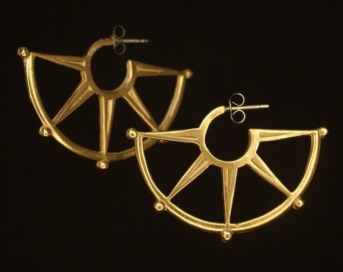 Spur Half-Hoop earrings - bronze or silver
