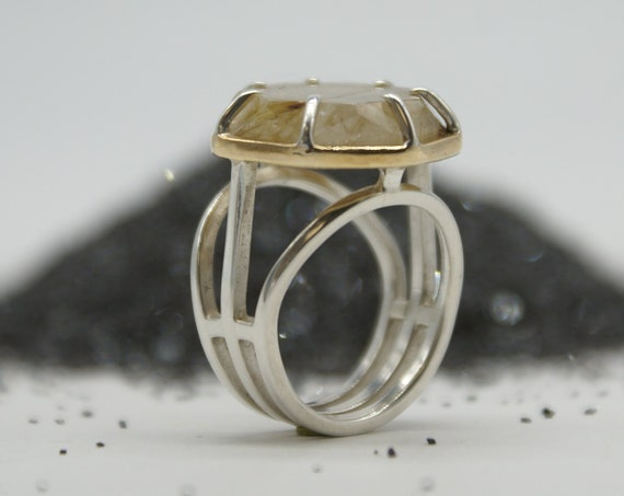 Structure Series - Rutilated Quartz heptagon