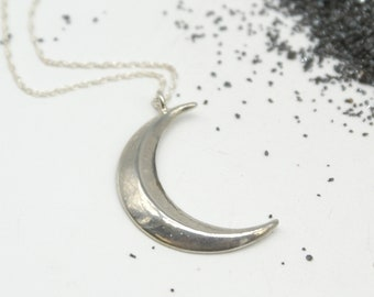 Beveled Crescent Moon necklace - bronze or silver