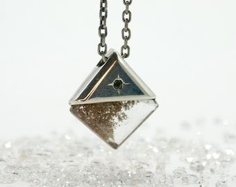 Lodolite pendant with sapphire accent - diamond shape