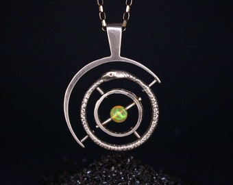 Ouroboros Gyroscope - Silver with opal and champagne diamond eyes