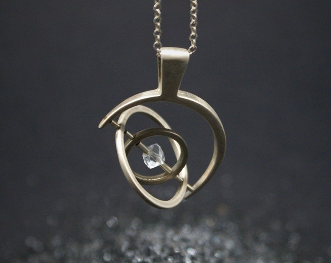 Gyroscope pendant necklace - Silver with Herkimer Diamond, 1 axis