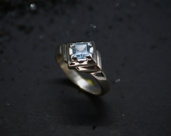 Deco Step ring - Faceted Topaz, size 6.75