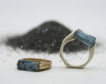 Kyanite Barrel Rings