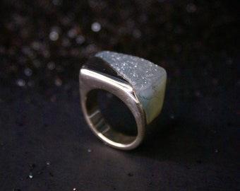 Complete Me Agate Druzy ring - sterling silver, Size 7.5