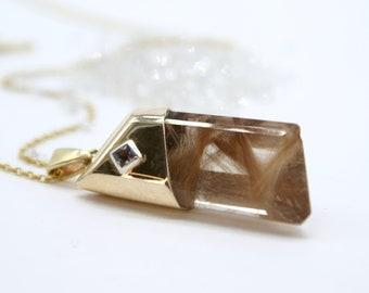 Golden Rutilated Quartz pendant - Trapezium with sapphire detail
