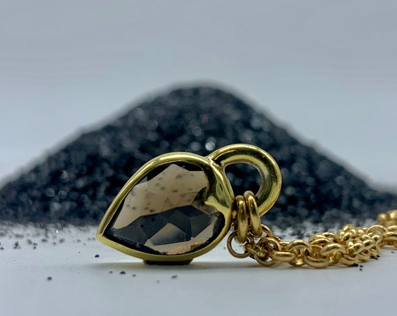 Heartlock Pendant, Smoky Quartz - Gemstone Padlock Necklace
