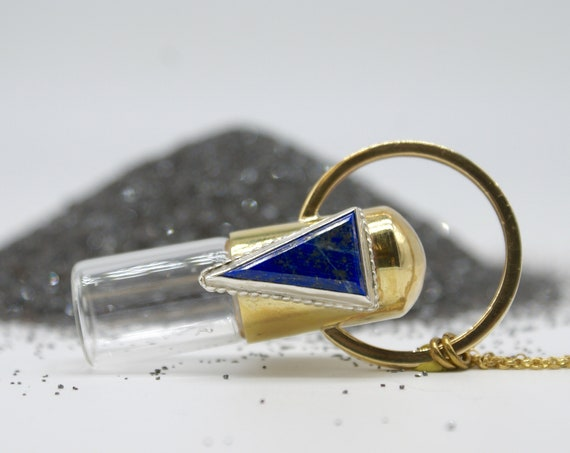 Royale - a one-of-a-kind rollerball necklace with lapis