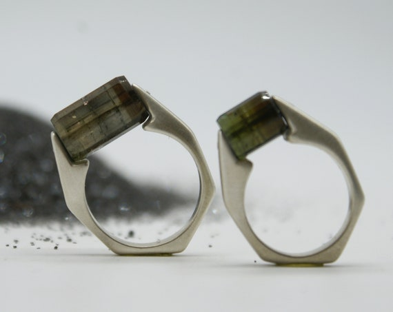 Tourmaline Barrel Rings