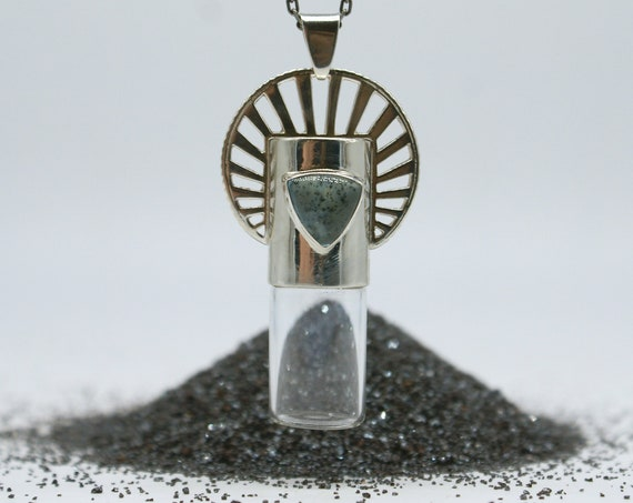 Silver Sun Halo rollerball vial necklace - speckled aquamarine