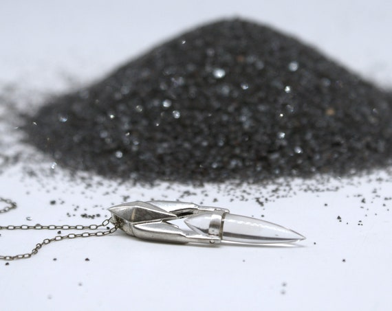 Swinging Crystal Spike pendant - sterling silver
