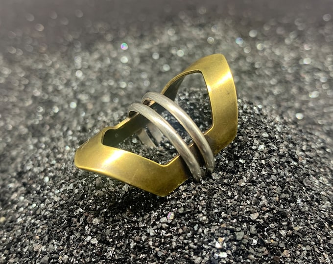 Hexagon Saturn Double Band Rings - silver and brass